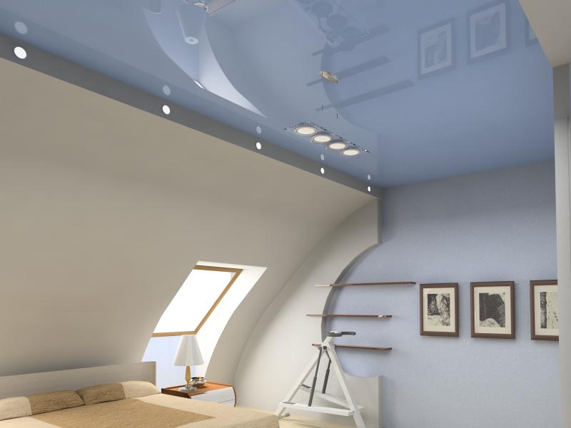 Преобразите мансарду с помощью натяжных потолков